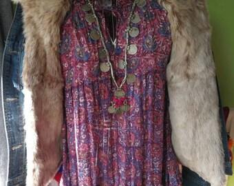 Suer sale Grace real fur and denim jacket