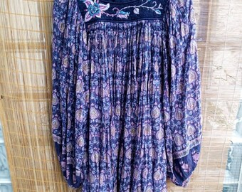 Tximeleta Phool lavender blue Indian gauze dress