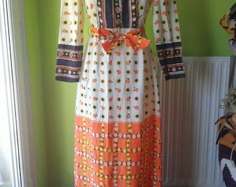 OCTOBER SALE Penny 1960s floral maxi dress
