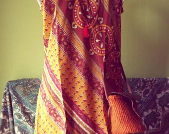 Golden Eagle vintage sari silk Indian dress
