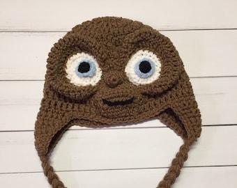 Crocheted Alien Hat, Extra-Terrestrial Hat, Crocheted Toddler Hat, Crocheted Baby Hat, Halloween Hat, Dress Up Hat