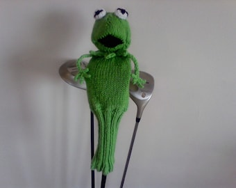 Knit Frog Golf Cover, Fathers Day Golf Gift, Gift for Her, Gift for Him, Knit Golf Club Cover