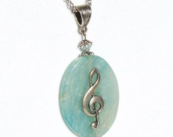 Treble Clef MUSIC NECKLACE Blue Green Agate Pendant, Music Pendant, G Clef Music, Music Graduate Gift, Music Teacher Gift Music Student Gift