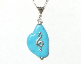 BLUE TREBLE CLEF Necklace, G Clef Necklace Gift, Treble Clef Pendant, Music Pendant, Music Teacher Gift, Music Student, Music Graduate Gift