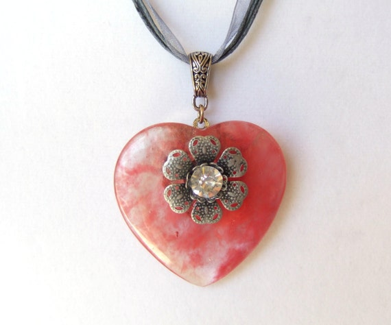 Pink Daisy Heart Necklace Girl Pendant Large Rhinestone Pink Etsy