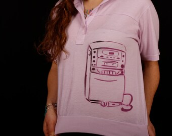 1990s Vintage Blouse with Karaoke Machine Stencil