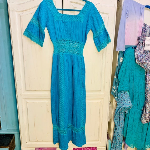 TURQUOISE Mexican WEDDING Dress with LACE Insets