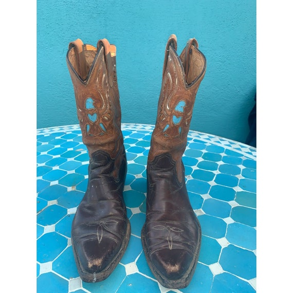40s 50s ACME Cowboy BOOTS TURQUOISE Inlays Cutouts