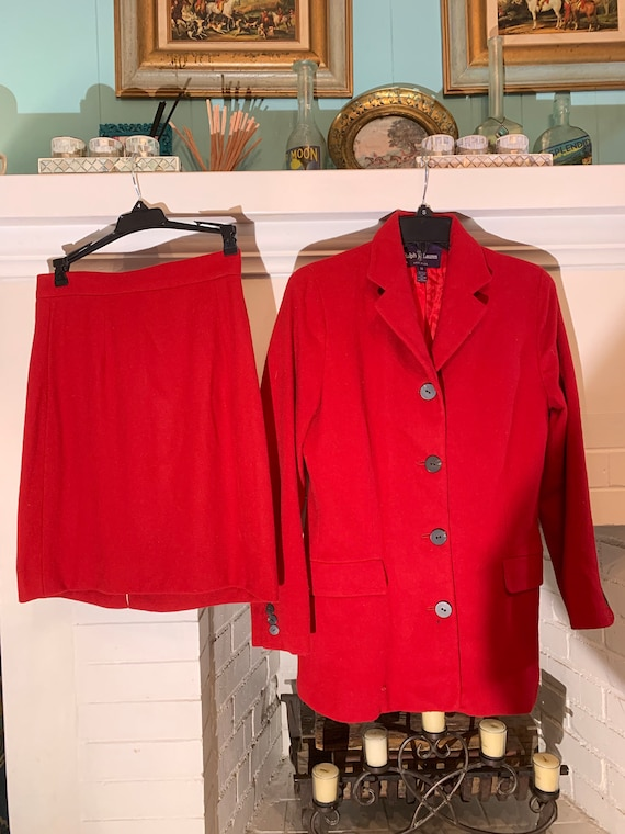 RALPH LAUREN 80s Red CASHMERE Skirt & Riding Jacke