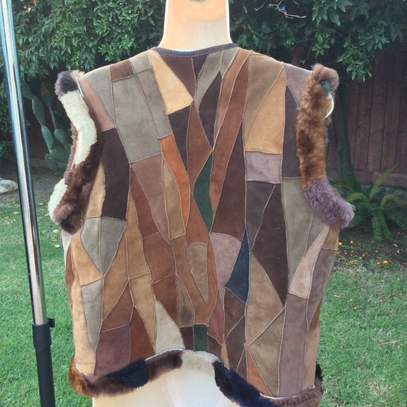 Patchwork Suede Leather Reverse Shearling Vest Jan