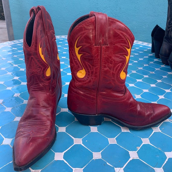 RED with Yellow Inlays SHORTY COWBOY Boots 80s-90s