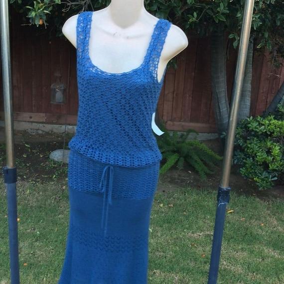 Nineties NWT Denim Blue CROCHET DRESS with Matchin