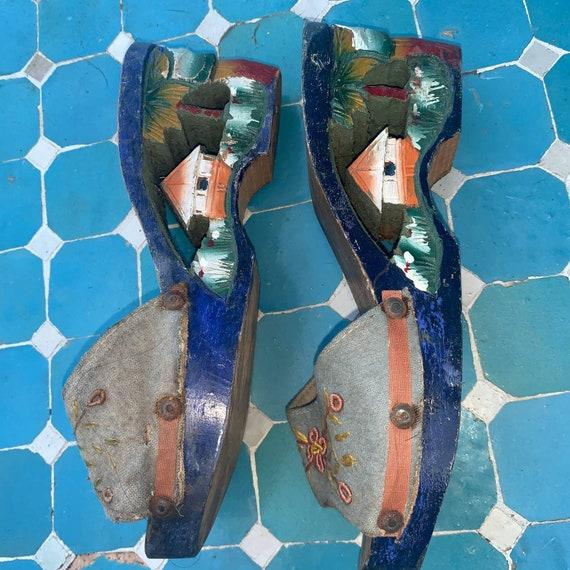 40's CARVED PAINTED Wood SLIDES Sandals - image 1