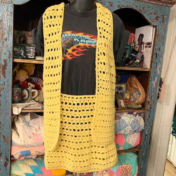 Hippie Handmade CROCHET MINISKIRT & VEST Set 60s 7