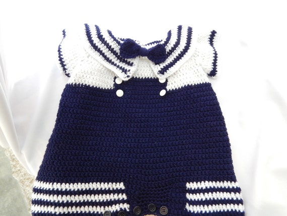 dd44358ca79a Crochet Pattern Baby Boy Sailor Romper for Baby 6 Months