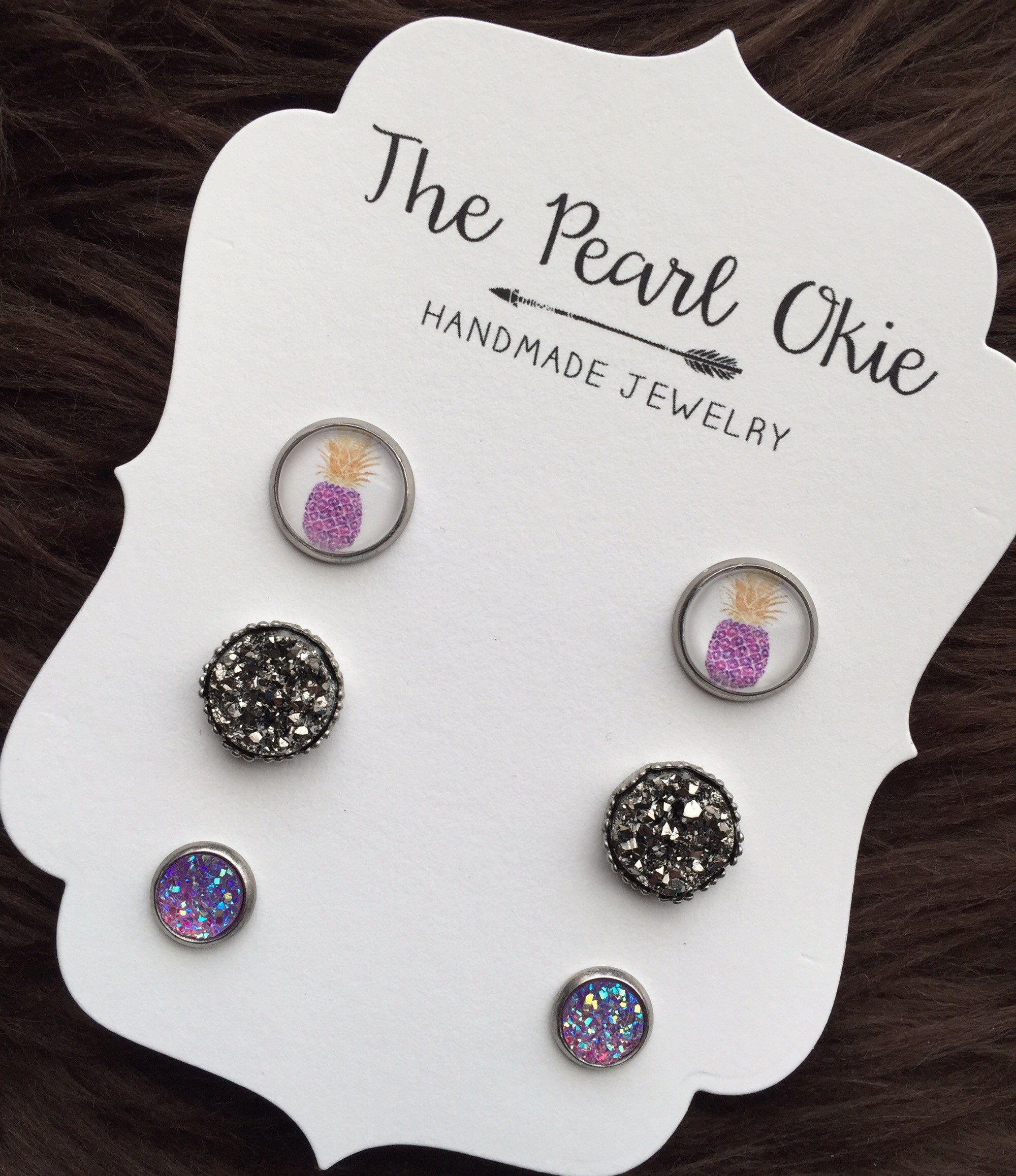 439e67747775c Purple Watercolor Pineapple Matching Stud Dark Smokey Gray Ornate and 8mm  Light Purple Faux Druzy Earring Trio Set, Summer Jewelry