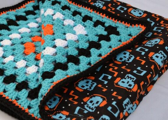 Digital Skull Crochet Baby Blanket Granny Square Reversible Etsy
