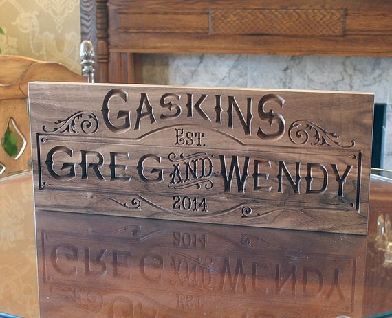 13 Wedding Anniversary Gifts For Him: Couples Name Sign Anniversary Gift For Him Carved Wooden