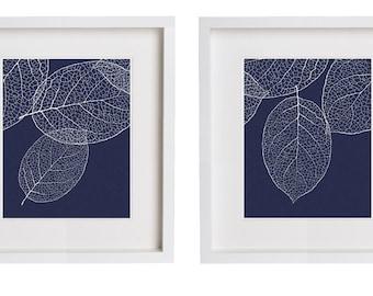 Two Prints Navy Wall Art West Elm Leaf Print Set of 2 Botanical Prints