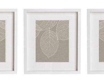 One Single Print - West Elm Leaf Print Gray Taupe Wall Art