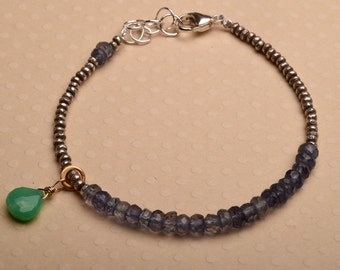Chakra Bracelet, Iolite Bracelet, Crown Chakra Bracelet, Healing Gemstone Bracelet, Hill Tribe Silver Beaded Bracelet, Yoga Bracelet