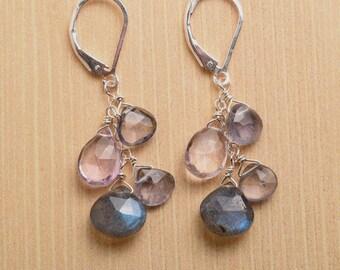 Amethyst Earrings, February Birthstone Earrings, Labradorite Dangle Earrings, Purple Gemstone Earrings, Healing Gemstone Jewelry