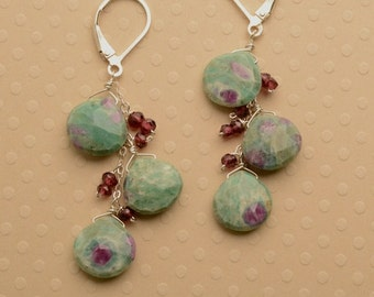 Pink Green Gemstone Earrings, Healing Gemstone Jewelry, Zoisite Ruby Garnet Earrings, Long Dangle Gemstone Earrings, Healing Gemstone