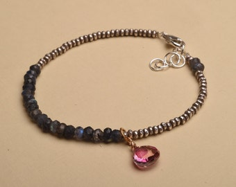 Chakra Bracelet, Healing Gemstone Bracelet, Labradorite Bracelet, Pink Gemstone Bracelet, Hill Tribe Silver Beaded Bracelet