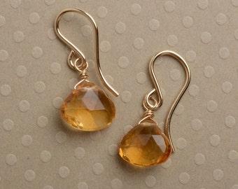 Citrine Gold Earrings, Gemstone Drop Earrings, Healing Gemstone Jewelry, November Birthstone Earrings, Golden Yellow Earrings