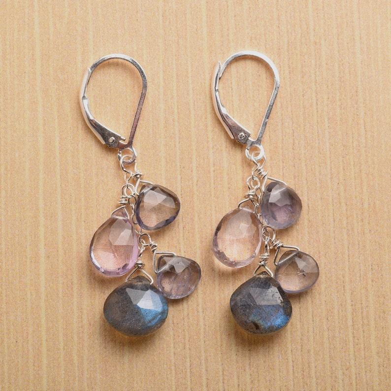 Amethyst Earrings - Labradorite Earrings - Long Dangle Earrings - Gemstone  Dangle - Gemstone Meaning - Healing Gemstone - Iolite Earring