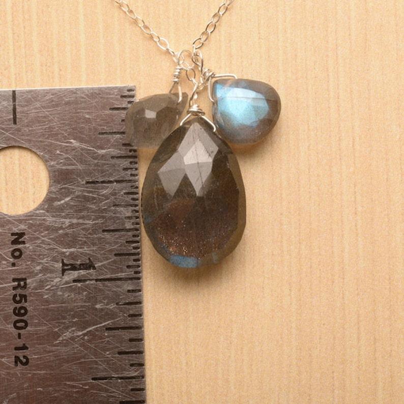 Labradorite Necklace Blue Gray Gemstone Necklace Healing Gemstone Jewelry Labradorite Silver Chain Necklace