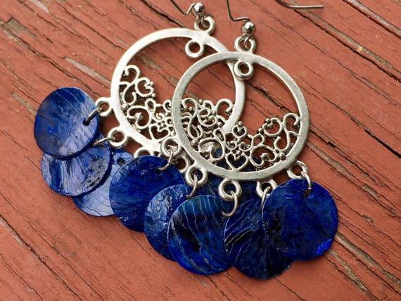 """Dark Blue """"Simply Chandelier"""" Mussel Shell Earrings"""