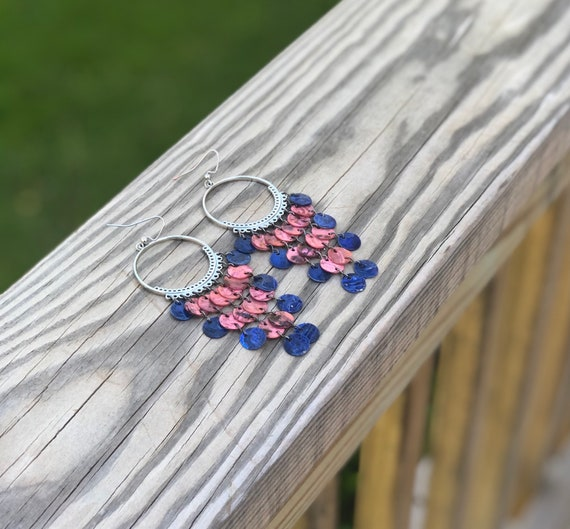 Pink & Dark Blue Mussel Shell Chandelier Earrings