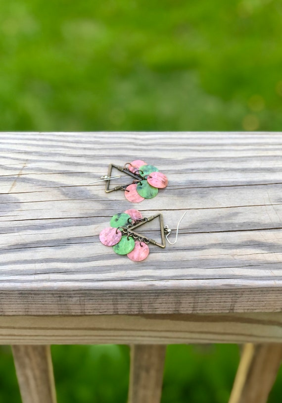 Pink & Gren Mussel Shell Chandelier Earrings