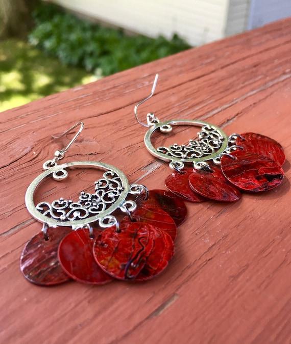"""Dark Red """"Simply Chandelier"""" Mussel Shell Earrings"""