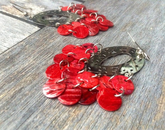 "Red ""Simply Chandelier"" Mussel Shell Earrings"