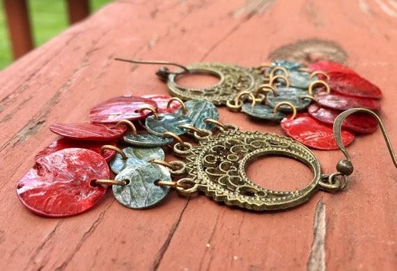 "Peacock Grey & Red ""Simply Chandelier"" Mussel Shell Earrings"