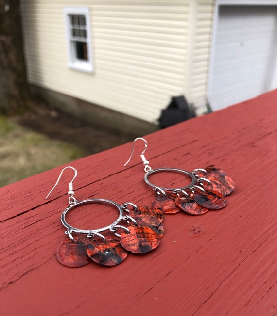 "Orange ""Simply Chandelier"" Mussel Shell Earrings"