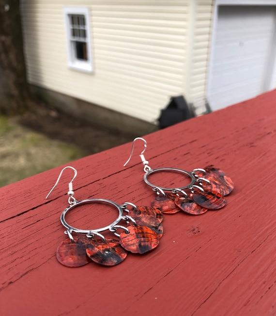 """Orange """"Simply Chandelier"""" Mussel Shell Earrings"""