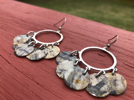 "Grey ""Simply Chandelier"" Mussel Shell Earrings"
