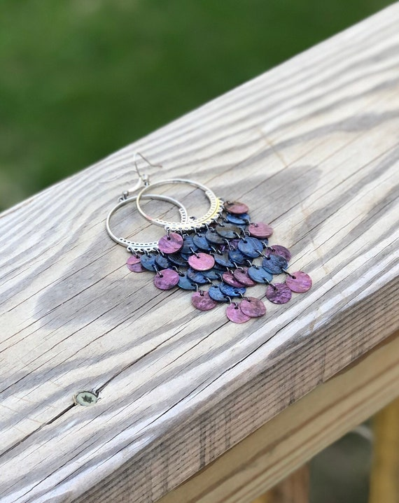 Dark Purple & Dark Blue Mussel Shell Chandelier Earrings