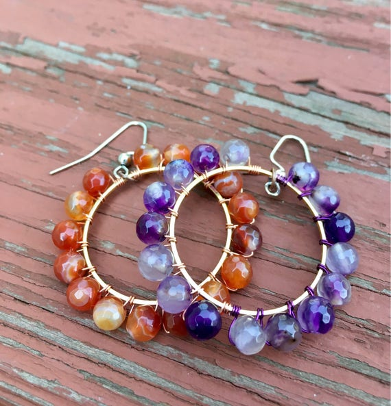 Wire Wrapped Purple Faceted Agate Earrings