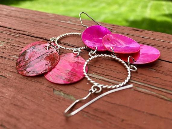 """Hot Pink """"Simply Chandelier"""" Mussel Shell Earrings"""
