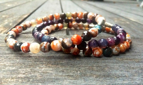 Purple & Mixed Green Faceted Agate Stack Bangles