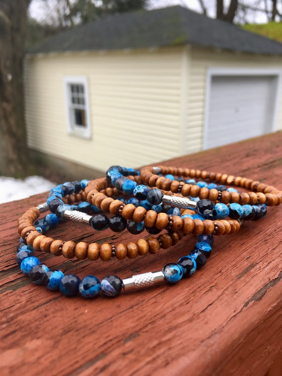 Dark Blue Crab Faceted Agate & Wood Beaded Stack Bangles