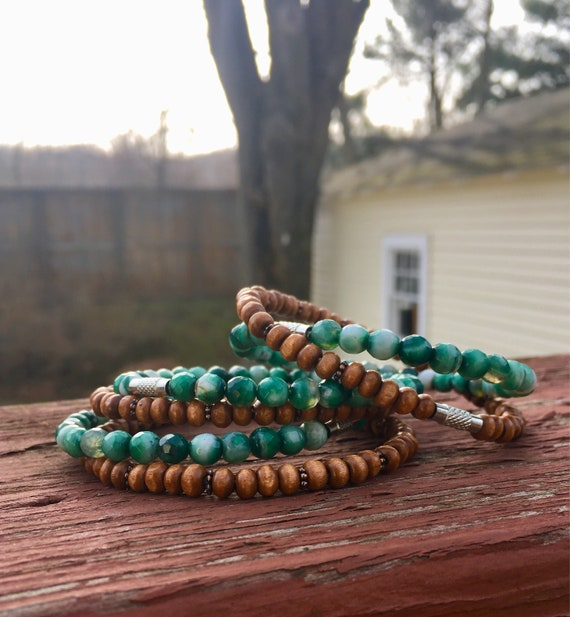 Green Agate & Wood Beaded Stack Bangles