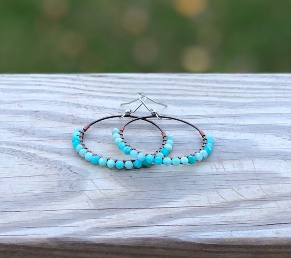 Wire Wrapped Amazonite Chandelier Earrings