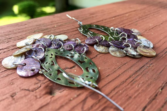 "Purple & Natural ""Simply Chandelier"" Mussel Shell Earrings"
