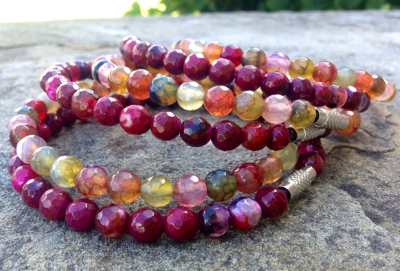 Multicolor Dragon Vein & Red Faceted Agate Stack Bangles