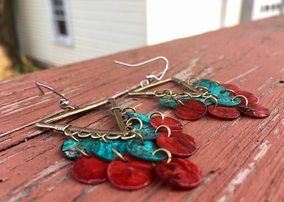 "Turqouise & Dark Red Triangular ""Simply Chandelier"" Earrings"